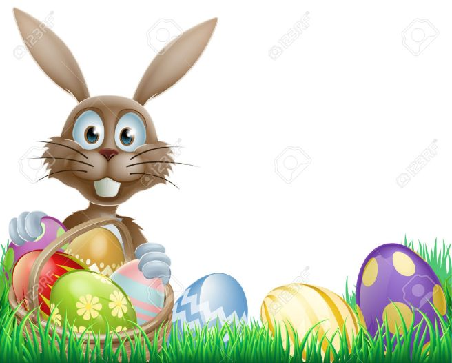 25210391-A-cartoon-Easter-bunny-rabbit-with-an-Easter-eggs-basket-Stock-Vector